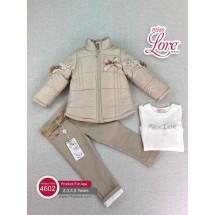 Комплект для девочек бежевого цвета Вероника (куртка, джинсы и джемпер)