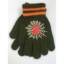 Перчатки осенние болотного цвета с пауком