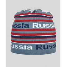 """Шапка демисезонная темно-серая с белой надписью """"Russia"""""""