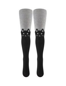Колготки серо-черно цвета с кошками на коленках