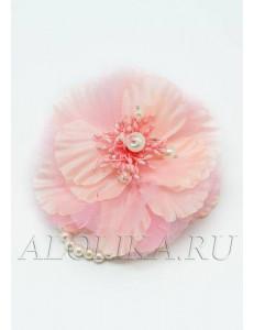"""Браслет розовый с жемчужным браслетом """"Цветок"""""""