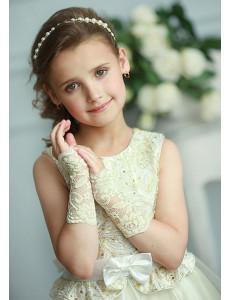 Митенки кремово-желтые кружевные на девочку Незнакомка (3-7 лет)
