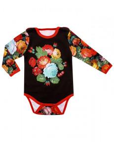 """Боди для малышей с ярким цветочным рисунком """"Жостово"""""""