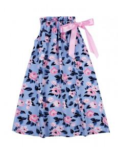 Сарафан для девочки голубого цвета с мелкими цветами