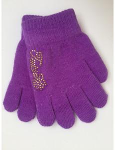 Перчатки осенние фиолетового цвета с золотыми стразами