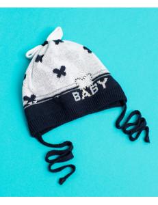 """Шапочка для малышек синего цвета с бабочками """"mini"""""""