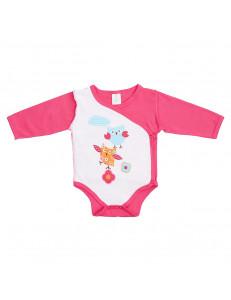 """Боди-кимоно ярко-розового цвета для малышей """"веселая компания"""""""