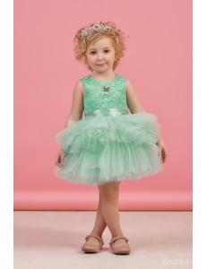 """Платье нарядное мятного цвета с многоярусной юбкой """"Кружево"""""""